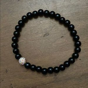 Crystal & Polished Bead Stretch Ankle Bracelet